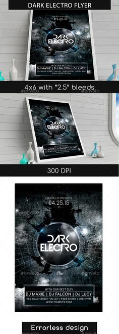 Dark Electro Flyer — Photoshop PSD #night #club • Available here → https://graphicriver.net/item/dark-electro-flyer-/10672825?ref=pxcr