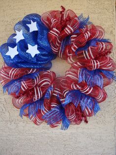 PATRIOTIC Deco Mesh Wreath perfect for of July made by myhomeflorals Deco Mesh Crafts, Wreath Crafts, Diy Wreath, Wreath Making, Wreath Ideas, Diy Crafts, Blue Crafts, Tulle Wreath, Patriotic Wreath