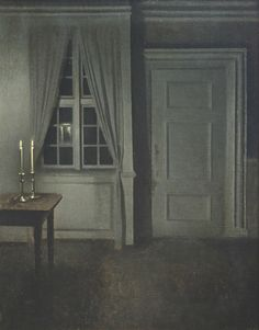 Vilhelm Hammershøi, Interior with two candles