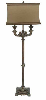 """Washed Bronze Floor Lamp, CVAQP542 - Taupe Washed Bronze Two Arm Floor Lamp (Beige Rectangle Shade w/Taupe Trim) measures 11/17"""" x 12/18"""" x 11"""" #Lamps"""