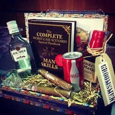 Groomsmen survival kits!  Complete with Man Skills, cigars,  and booze!