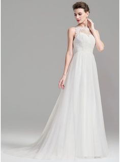 A-Line/Princess Scoop Neck Sweep Train Tulle Wedding Dress With Ruffle Beading Sequins