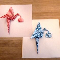 2 cartes naissance fille garçon - remerciement - félicitation - carte irisé cigogne origami bleu et rouge