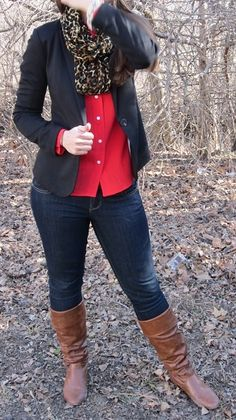 Red button up, black blazer, leopard scarf, brown boots... ...