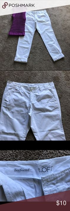 Loft White Boyfriend Capris (sz 4) White boyfriend capris. Loose fitting and comfortable. Worn with the top shown in the picture. Not being sold as a set.  Worn once and in excellent condition. LOFT Pants Capris