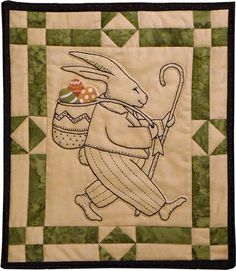 """Sweet Stitches Kit - Peter Cottontail - April: Celebrate Easter with this happy rabbit embroidery project!  This easter themed embroidery kit includes the pattern and all fabric to complete the kit measuring 13"""" X 15"""".  Embroidery floss not included."""