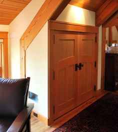 Faywood Farm has a few reclaimed Douglas fir and walnut doors all hand crafted by our fine woodworking group. Doors, Exterior Doors, Custom Homes, Walnut Doors, Interior, Custom Interior Doors, Timber Frame, Wood Doors Interior, Doors Interior