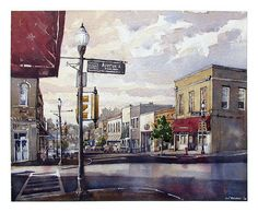 Home Today - Small Town America - Opelika, AL - by Iain Stewart, Watercolor Watercolor City, Watercolor Landscape, Watercolor Paintings, Watercolors, Perspective Sketch, Small Town America, Urban Sketching, City Art, City Streets