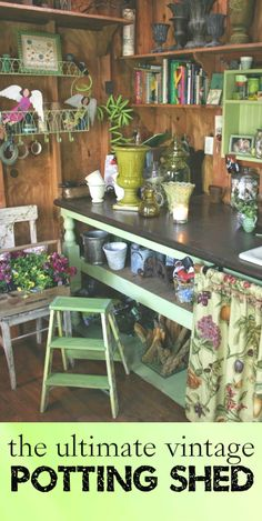 vintage materials went into constructing her potting shed, but she made sure it is extremely efficient. Flower arranging is a favorite hobby of Nancy's, so this space is perfect for storing all the supplies she needs.