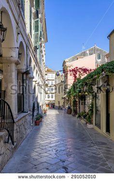 Street in the old town of Corfu island, Greece
