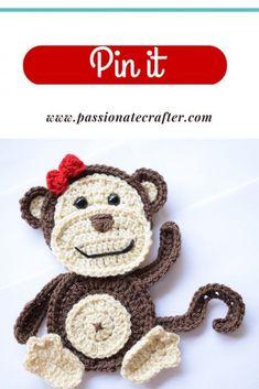 Crochet Applique Patterns Free, Crochet Animal Patterns, Stuffed Animal Patterns, Crochet Patterns Amigurumi, Free Crochet, Crochet Appliques, Crochet Animals, Baby Patterns, Crochet Stitches