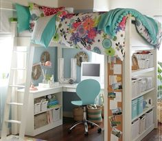 This is super cute!!! I love the idea of your bed on top and your desk and other stuff on bottom!!!