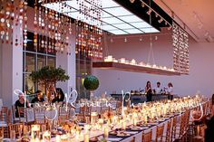 Custom Head Table Candle Installation   by Blue Bouquet