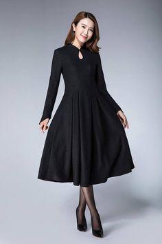 81188be1cd dress black wool dress pleated dress winter dress