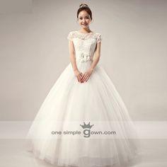 BG002 – Short Sleeve Floor Length Ball Gown Wedding Dress - by: One Simple Gown