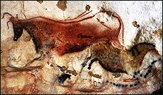 Lascaux Cave Paintings - An Introduction. Great Hall of the Bulls. Lascaux, France. Paleolithic Europe. 15,000–13,000 B.C.E. Rock painting.