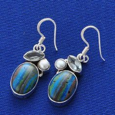 EXCLUSIVE DESIGNER 925 RAINBOW CHALSILICA 5.48g STERLING SILVER EARRING ER0542 #Handmade #EARRING