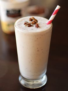 Maple-Butter Pecan Milkshake - Deliciously dairy-free, gluten-free, soy-free and vegan! This indulgent delight has the perfect buttery base and easy toasted maple pecans.