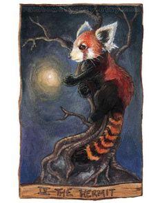 Red Panda Print Hermit Tarot Card Art Animal Illustration by rainbowofcrazy