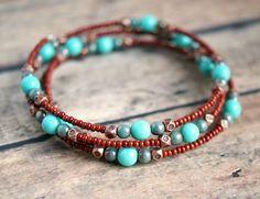 skylar southwestern beaded memory wire bracelet. $11.00, via Etsy.