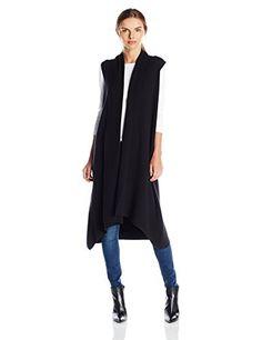 Calvin Klein Women's Sleeveless Duster Flyaway Vest, Black, X-Small Calvin  Klein http
