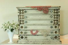 Antique J P Coats White Painted Oak Spool Cabinet. $698.00, via Etsy.