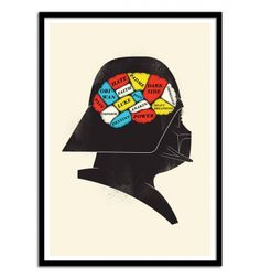 Darth Vader Phrenology - Chris Wharton. Star Wars Humor Illustration. Art-Poster and prints published by Wall Editions. Illustration Format : 50 x 70 cm