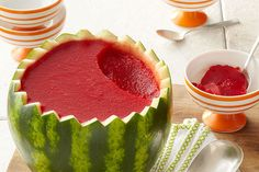 Pull off a presentation to remember with a Watermelon Bowl. Our Watermelon Bowl consists of a watermelon infused gelatin artfully served inside the rind. Watermelon Bowl, Watermelon Recipes, Watermelon Cakes, Sweet Watermelon, Good Food, Yummy Food, Summer Dessert Recipes, Fruit Dishes, Fruit Salads