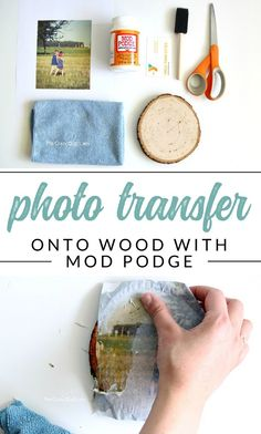diy gifts this wood photo transfer tutorial, and learn how to add images to wood surfaces using Mod Podge. Discover an easy way to print pictures onto wood rounds for photo gifts. Picture Onto Wood, Picture Transfer To Wood, Mod Podge Photo Transfer, Tranfer Picture To Wood, Transfer Images To Wood, Paper Transfer To Wood, Canvas Photo Transfer, Wax Paper Transfers, Photo Canvas