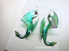 Dragon Earrings, 9 colours available, iridescent acetate earrings, pierced ear, latch back or clip on - Beads and Findings - Piercing Oreja Pin Up, Deep Purple, Dragon Ear Cuffs, Dragon Jewelry, Dragon Necklace, Diy Tattoo, Moon Design, Clips, Clip On Earrings