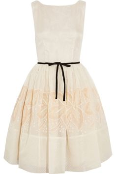 RED Valentino|Embroidered silk dress|NET-A-PORTER