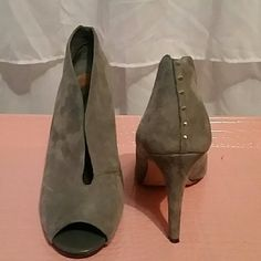 Halogen Gray peep toe Leather ankle booties with gold studs Halogen Shoes Ankle Boots & Booties