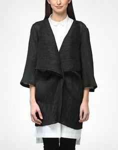92$ Black Kinji Cape-AKAARO bespoke silk, wool, lycra fabric 20% silk, 75% wool, 5% lycra draped, front open cape