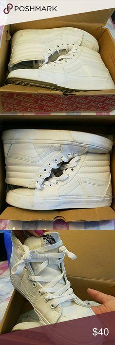 Sk8 HI white vans High top all white very trendy , Vans Shoes Sneakers