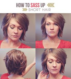Sass up short hair tutorial Via THE MODERN ROOST. @deb rouse schwedhelm Heimler This would be super cute on you Aunt Deb!