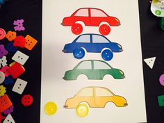 Match buttons to cars, free printable, activities for 2 -2.5 year olds, activities for 24 month old, activities for 25 month old, activities for 26 month old, activities for 27 month old, activities for 28 month old, activities for 29 month old, activities for 30 month old, activities for two year old, activities for three year old, learning activities for toddlers, toddler activities, fun toddler activities
