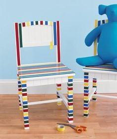 Uses for Old Things: Kids Edition Use electrical tape (either lead-free or plastic) to decorate a chair.Use electrical tape (either lead-free or plastic) to decorate a chair. Duct Tape, Washi Tape, Masking Tape, Cinta Washi, Electrical Tape, Painted Chairs, New Uses, Tape Crafts, Real Simple