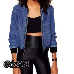 Denim Varsity Jacket LAST ONE!!!! Size medium fun denim varsity jacket. Made of  denim/cotton blend. Jackets & Coats Jean Jackets