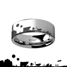 Tatooine Star Wars New Hope Jawas Jabbas Palace Black Tungsten Engraved Ring - 4mm - 12mm