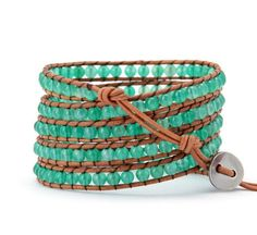 St. Martin Green Onyx Natural Tan Leather Wrap