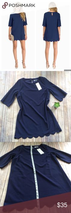 Tobi Sweetly Scalloped Dress size Medium NWT New with tags navy Scalloped shift dress from Tobi. This dress is perfect for parties, events, or can be paired with leggings. Tobi Dresses