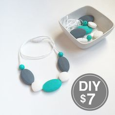 (Might be a way around the teether liability issue) DIY Teething Necklace Kit with Gray and Teal Flat Oval Silicone Beads