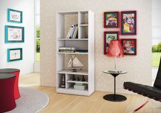 Manhattan Comfort Valenca Bookcase in White Storage, Transitional White Furniture, Home Office Furniture, Furniture Deals, Living Room Furniture, Space Furniture, Open Bookcase, Bookshelves, Ladder Bookcase, Mid Century Modern Bookcase
