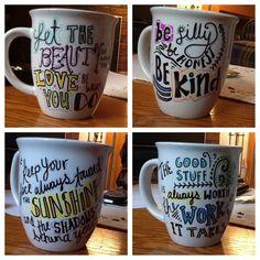 Sharpie mugs! Draw- Bake at 350 for 15 minutes- enjoy!