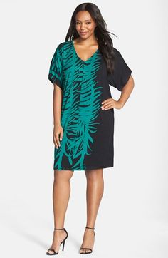 Adrianna Papell Print V-Neck Drop Shoulder Shift Dress (Plus Size) available at #Nordstrom