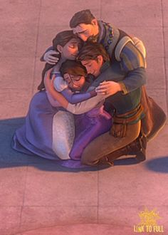 *TANGLED, 2010 ~ THE EMBRACE: I remember one of the early plot summaries of Tangled saying that at the end the King and Queen embrace Flynn like a son. I think that is the sort of impression that audience is supposed to get. I think they welcome him as one of the family. Notice how the King and Queen hands are interlaced over Eugene shoulder. I can't imagine the King being too stern with Eugene. I imagine he would have been extremely happy with him during that first week, and ...
