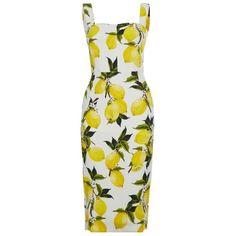 Dolce & Gabbana Lemon Pencil Dress (17845 MAD) ❤ liked on Polyvore featuring dresses, dolce & gabbana, lemon print dress, pencil dress, mixed print dress, flower print dress and print pencil dress