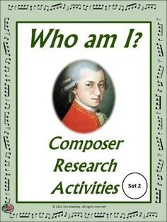 COMPOSER RESEARCH ACTIVITIES Set 2 A great resource for the music classroom. It can be used in so many ways!