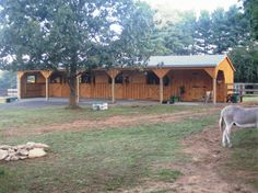 10 x 54 Shed Row Horse Barn- 10' overhang, 4- 10 x 11 stalls, 1- 10 x 10 tack room.