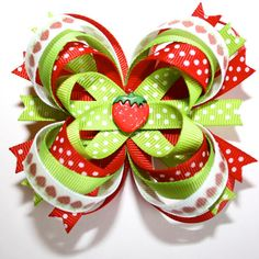 Strawberry Red Lime Green Polka Dots Stacked Boutique Hair Bow